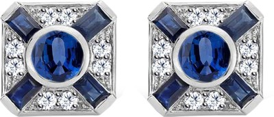 JacknJewel Blue Vintage White Gold 18kt Diamond Stud Earring