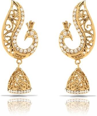 Oviya White Peacock Crystal Brass, Alloy Dangle Earring