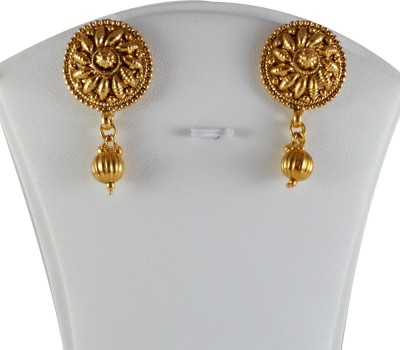 Samvardhan Jewellery Gold Plated Tear Drop Earrings Embellished With Delicate Pearl Beads Copper Drop Earring