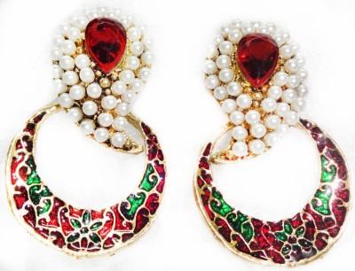 SB Fashions maroon pearl earrings Brass Earring Set