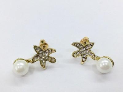 Arkina Diamonds Star fish pearl Brass Drop Earring