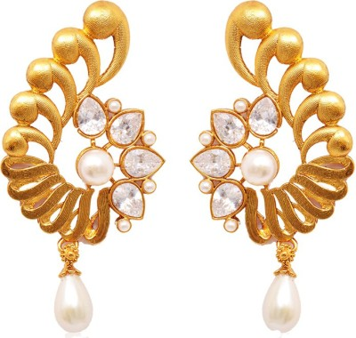 Ratnakar Gold plated with diamond stone earing Alloy Stud Earring