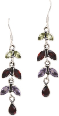 Watch Me Bewitching Branch Mauve and Brown Earrings Garnet, Amethyst, Peridot Sterling Silver Dangle Earring