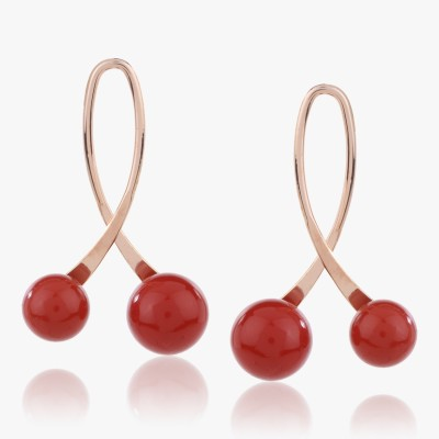 Shamoda Red Balls Metal Drop Earring