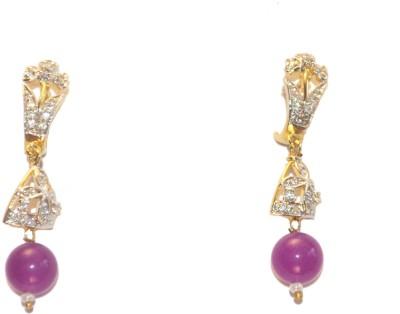 Women Trendz Cz Golden Polish With Purple Bead Metal Drop Earring