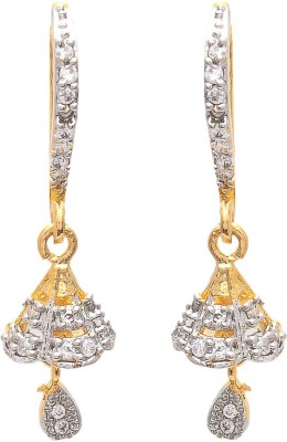 My Sara Temple Bell Cubic Zirconia Brass Hoop Earring