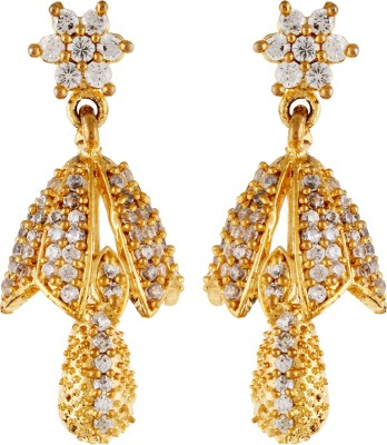 Aadhya Jewels Designer Small Gold Plated Cubic Zirconia Alloy Drop Earring