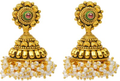 Jillcart Gold Plated With Shell Pearl Jhumka Ruby Copper Jhumki Earring