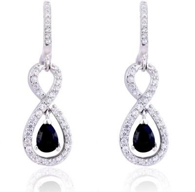 Ijuels Vogue Solitaires Look A like Sterlings Cubic Zirconia Silver Huggie Earring