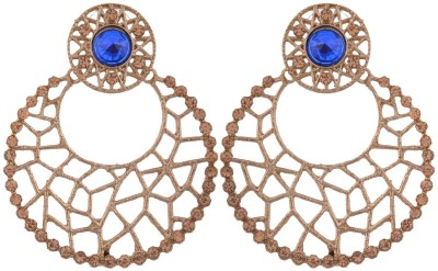 Grandiose Filigree Antique Rhodium Plated Blue Copper Chandbali Earring