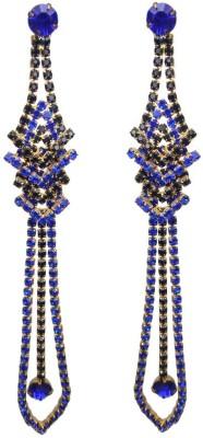 000 Fashions Blue & Black V shaped Alloy Tassel Earring