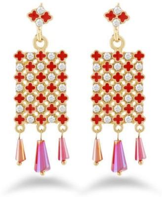 Jazz Jewellery Antique Design Red & White Stone Brass Earring For Women Alloy Drop Earring