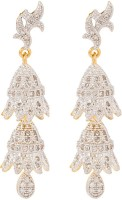 Voylla Precious Classic Embellished Cubic Zirconia Sterling Silver Jhumki Earring