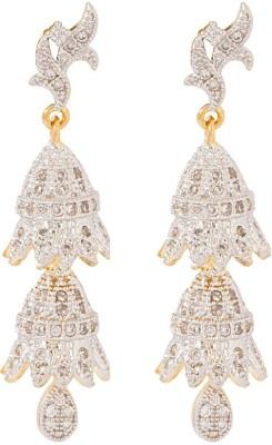 Voylla Precious Classic Embellished Cubic Zirconia Sterling Silver Jhumki Earring