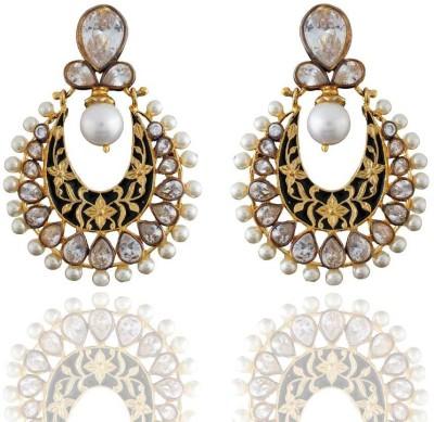 Pearls Cart Antique Golden Royal Meena Work Alloy Drop Earring
