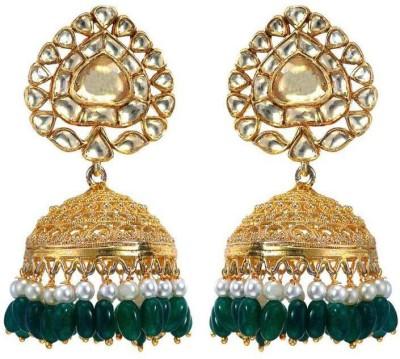 VelvetCase Multi-stone Gold Jhumka Silver Stud Earring