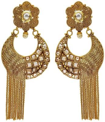 Mehrunnisa Traditional Ethnic Pearl, Polki, Kundan Gold Long For Women Copper Drop Earring