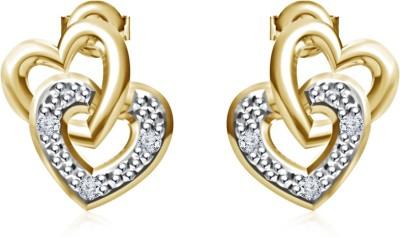 Kirati Intertwined Double Heart Cubic Zirconia Sterling Silver Stud Earring