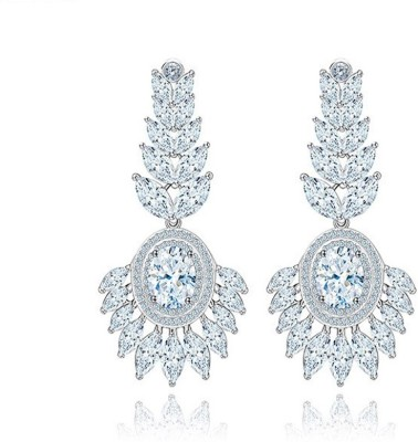 Yellow Chimes Diamond Sparkling Metal Drop Earring