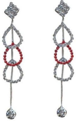 ACW Indo Western Silver Plated White and Red Stones Hanging Earring for Women Alloy Dangle Earring