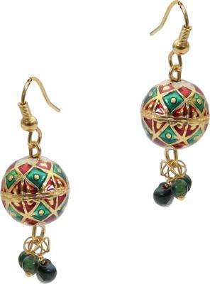 Artisan Red & Green Enamel Metal Jhumki Earring
