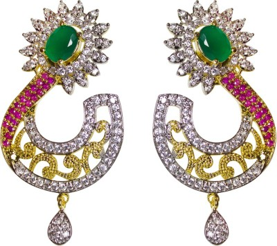 Jewelgrab Marvelous Design Ruby Alloy Chandbali Earring
