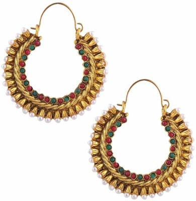 Gold & More Hammered Gold Bali-3 Copper Hoop Earring