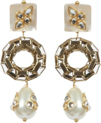 Envy Acrylic Pearl Yellow Gold Drop Earring