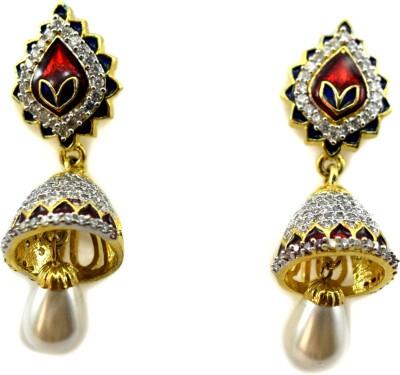 Bharat Sales Party wear shining cuff Cubic Zirconia Copper Jhumki Earring