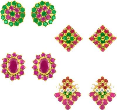JPearls Spectrum 4 Pair Sets Cubic Zirconia Alloy Earring Set