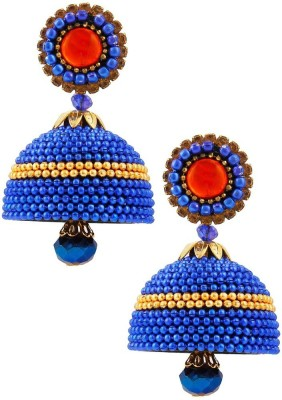 Jaipur Raga Elegant Royal Blue Hancrafted Ball Chain Jhumka Brass Jhumki Earring