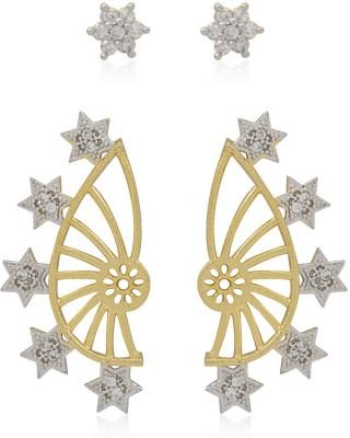 Jewels Galaxy 2 in 1 Interchangeable American Diamond 1138 Alloy Cuff Earring