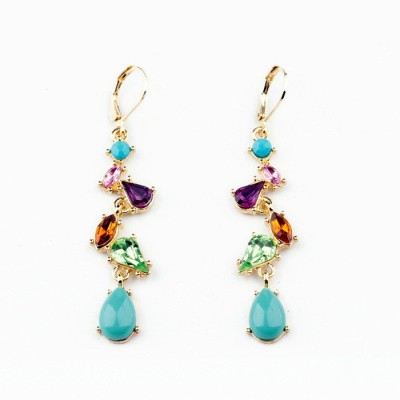 Colors of Sin Crystal multicolor wave drop Alloy Dangle Earring, Drop Earring