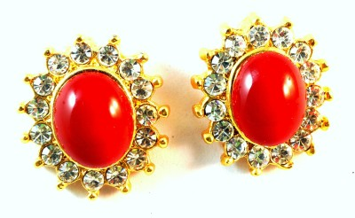 kanishq RED CHARM Alloy Plug Earring