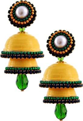 Jaipur Raga Hancrafted Single Stud Yellow Double Jhumka Brass Jhumki Earring