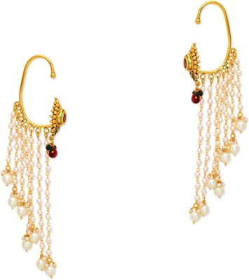 Prita Hanging with Pearls Alloy Cuff Earring