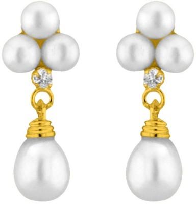 JPearls White Hangings Cubic Zirconia, Pearl Alloy Drop Earring