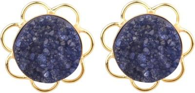 The Kewl Korner Druzy Crystal Brass Stud Earring