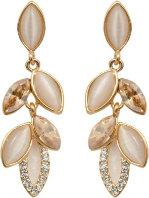 Royal Sterling Long Golden Pearl Swarovski Crystal Alloy Dangle Earring