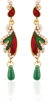 AccessHer Red Green Brass Drop Earring