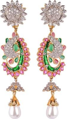 Gazal Jewels Flower Zircon Copper Drop Earring
