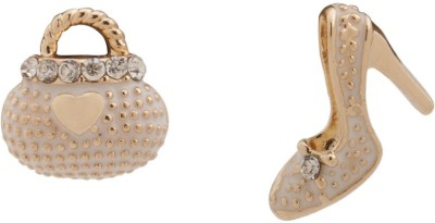RIANZ New Highly Gold Plated White Bag Heel Alloy, Crystal Stud Earring