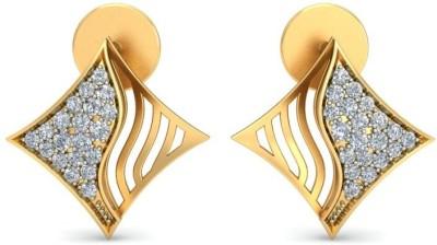 Ornomart kite diamond swirl Diamond Gold Stud Earring