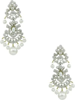 Orniza Victorian Earrings in Pearl Color and Victorian Polish Brass Chandbali Earring