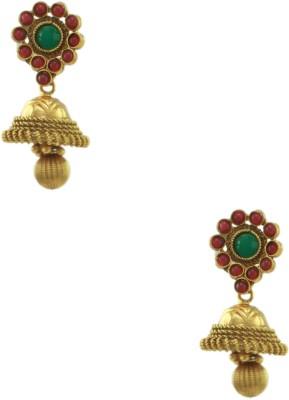 Orniza Polki Earrings in Ruby & Emerald Color and Golden Polish Brass Jhumki Earring