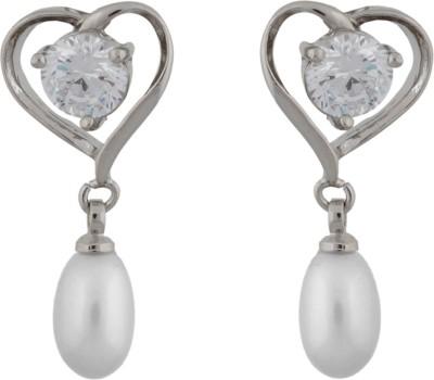 Janki Jewellers Heart Shaped Pearl Alloy Drop Earring