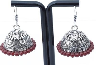 Waama Jewels Charming Brownie Red Metal Jhumki Earring