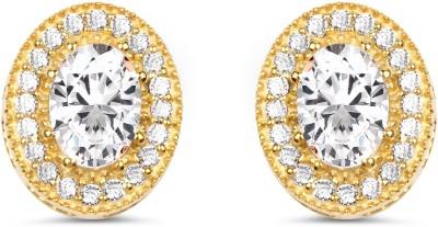 Johareez White Cubic Zirconia Gemstone Gold Plated Brass Earring Cubic Zirconia Brass Stud Earring
