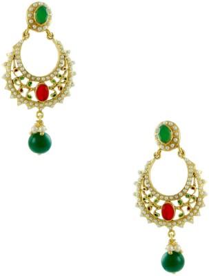 Orniza Rajwadi Earrings in Red & Green Color and Golden Polish Brass Jhumki Earring