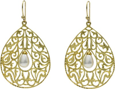 Eighth Fold Golden Pearl Tear Pearl Brass Drop Earring